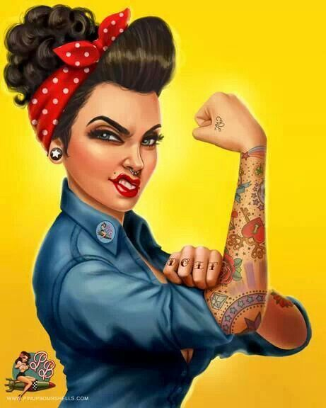 Just the interpretation of Rosie Riveter. Love it.