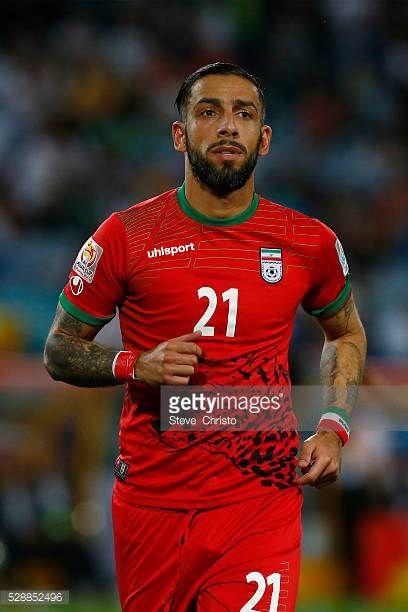 Iran's Ashkan Dejagah in action against Qatar at Stadium Australia Sydney Australia Thursday 15th January 2015