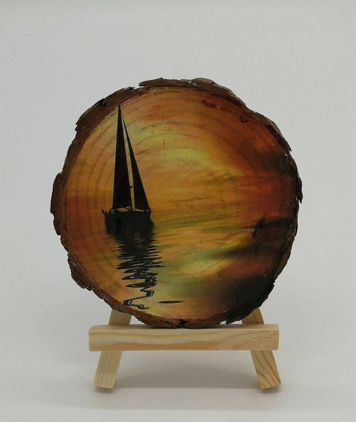 Wood Slice Art, Wall Decor, Xmas Gifts, Picture Living Room, Gift for her, Sunset Art,wood Sign, Nature art, Wood Painting, Wall hangings #art #gifts #love #giftideas #giftforhim #giftsforher #xmas #christmas #homedesign #summer #sunset #wood #wallart #ornament #beauty