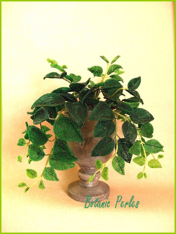 Plante verte grandeur nature en perles de rocaille for Plante verte