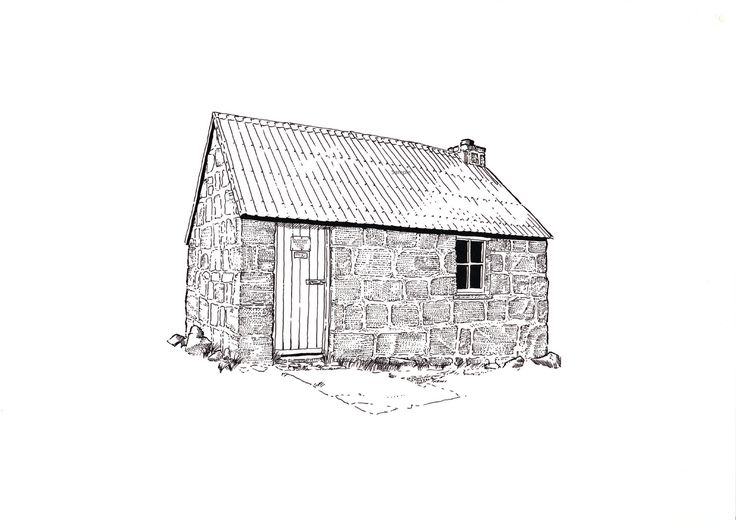 I created this pen and ink for my book 'Britain's Highest Peaks', it is now available as a print in my #etsy shop: Corrour Bothy, Lairig Ghru, Cairngorms. Line illustration detailing the bothy in 1993. #art #print #corrourbothy #cairngorms #benmacdui