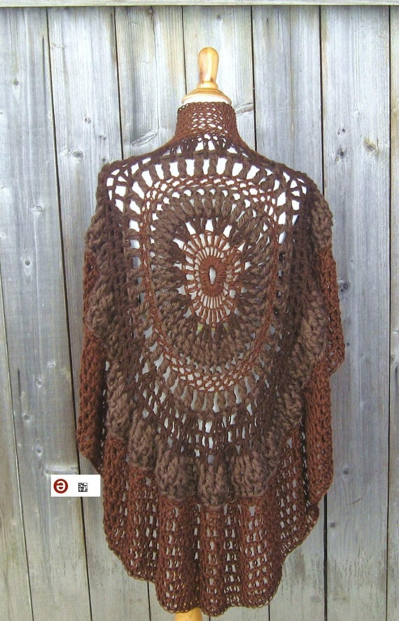 Bohemian Poncho Free Crochet Pattern : BROWN PONCHO BOHO Chic Crochet Bohemian Yoga Poncho Shawl ...
