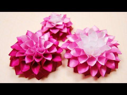 Делаем цветок георгина из атласных лент - Ярмарка Мастеров - ручная работа, handmade