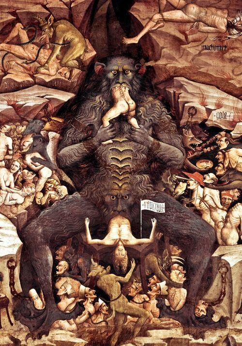 Dettaglio dell'Inferno su Lucifero. Il Giudizio Universale ~ Giovanni da Modena, 1410. Basilica di San Petronio, Bologna