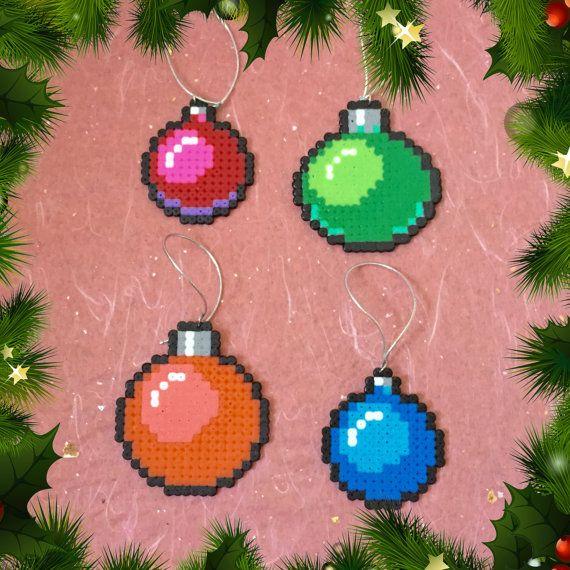 Christmas Bauble Set perler beads by ZoZoTings