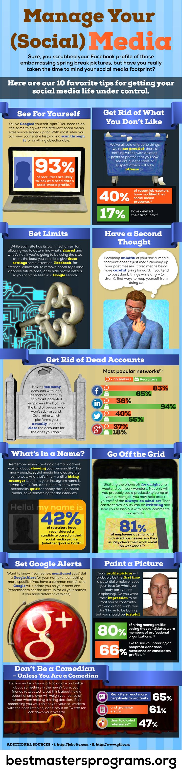 SOCIAL MEDIA -         Manage your (social) media - #SocialMedia #Infographic.