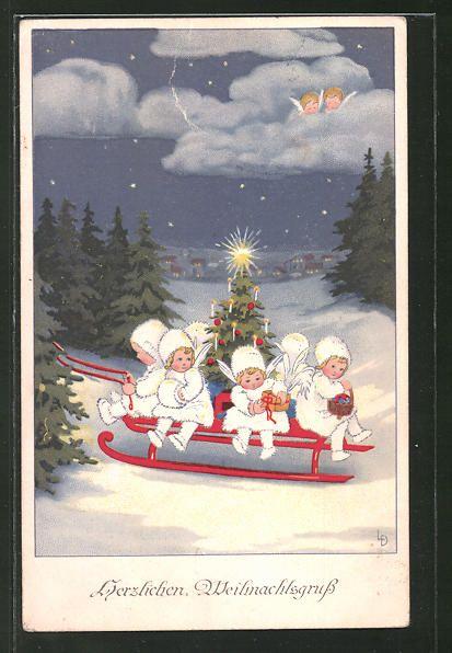 Nostalgische Weihnachtskarten Kaufen.Old Postcard Künstler Ak Lia Döring Engel In Winterkleidung Auf