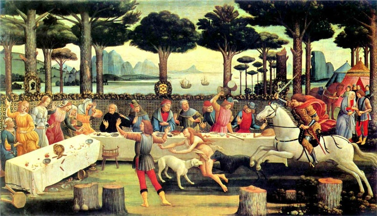 The Story of Nastagio degli Onesti - Third Panel - The Banquet in the Pine Forest (1483) by the Early Renaissance Italian painter Sandro Botticelli (Alessandro di Mariano di Vanni Filipepi; c1445-1510). Executed in tempera this is now held at the Museo del Prado, Madrid. This is based on Giovanni Boccaccio's (1313-75) allegory entitled The Decameron (1350-53) which roughly means Ten-Day Event. It is thus called because the characters of the story tell their tales over a ten day span.