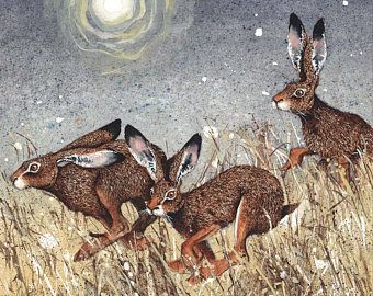 """Rabbit Watercolor Print, """"False Alarm by Maggie Vandewalle, 8"""" x 10"""" matted to fit an 11"""" x 14"""" frame"""