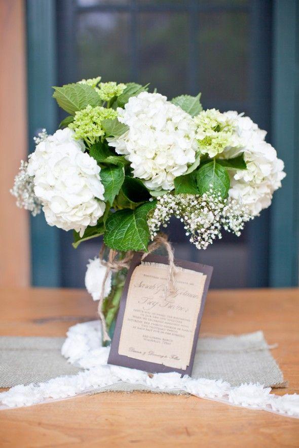 Rustic Wedding Bouquet. For mine: hydrangeas, baby's breath, peonies, magnolia leaves, etc.