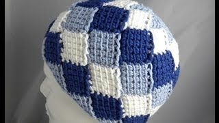 good how to start Tunisian Entrelac in the round.