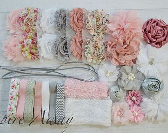 Shabby Chic DIY headband kit Vintage Pink baby shower