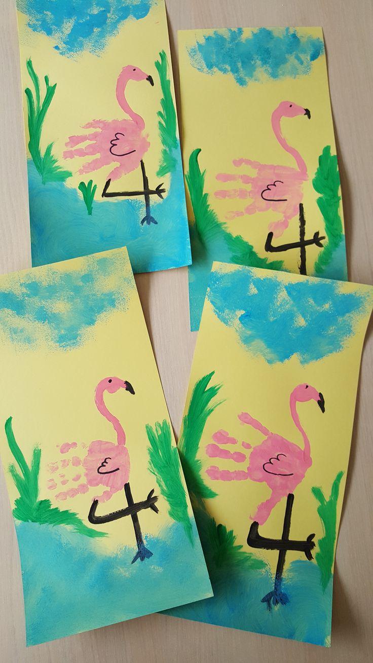 Flamingo van handafdruk