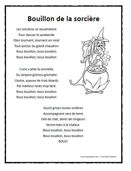 Chanson et activités à imprimer pour l'HalloweenCliquez sur l'image pour télécharger le fichier .pdf Chanson - Bonhomme citrouille Chanson - Vieille sorcière Chanson - Bouillon de la sorcière Chanson - La sorcière Gr