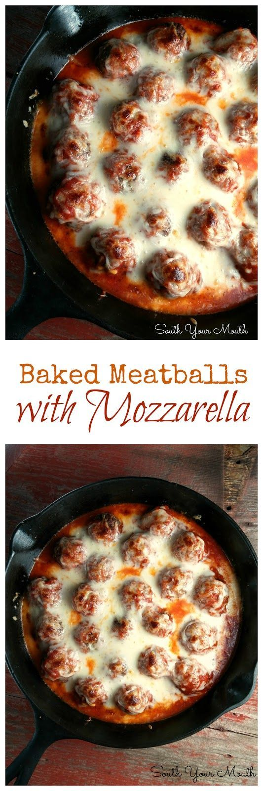 Baked Meatballs with Mozzarella! Italian meatballs baked in tangy marinara and topped with gobs of buttery, gooey mozzarella. | SouthYourMouth.com