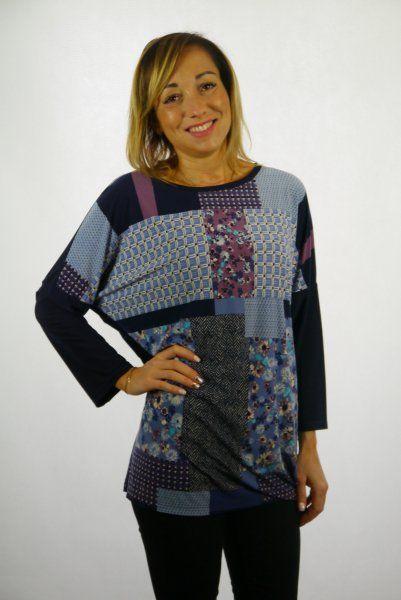 Bluzka, kimono, rękaw 3/4, wzór z przodu, rozmiar 46