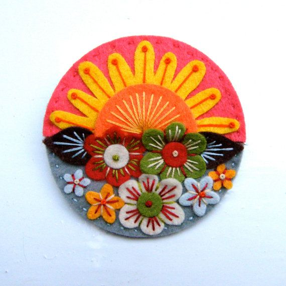 SUMMER felt brooch pin with freeform embroidery - scandinavian style. £15.00, via Etsy.