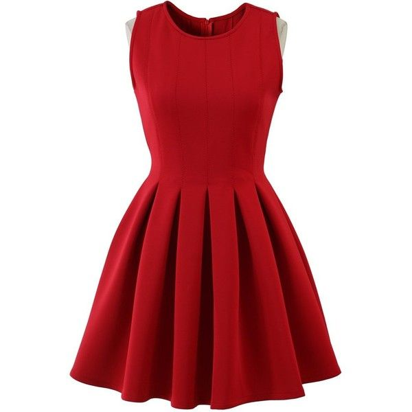 Chicwish Favored Sleeveless Skater Dress in Red (955 MXN) ❤ liked on Polyvore featuring dresses, vestidos, red, short dresses, red pleated dress, red skater dress, sleeveless dress, mini dress and short pleated dress