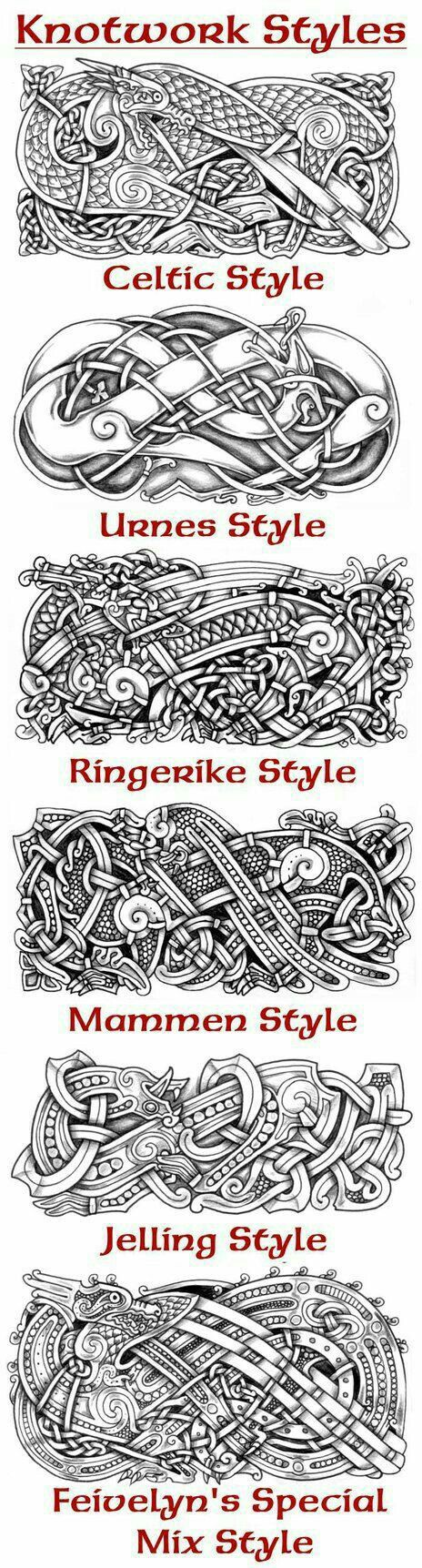 A collection of knotwork styles