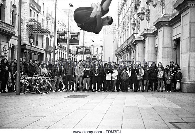BARCELONA, SPAIN - JAN 4: Unidentified urban street dancers performances for tourists on January 4, 2011 in Barcelona. These are - Stock Image