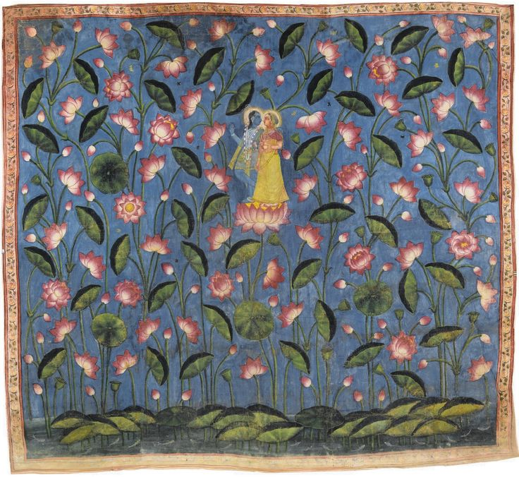 Lotus Picchavai: Krishna and Radha amongst Lotuses. Pigments on cloth. Late 19th century. India, Nathdwara. Such picchavais are used for ritual display during the summer months. http://www.sothebys.com/content/dam/stb/lots/N08/N08660/N08660-108-lr-1.jpg