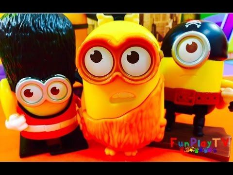 Peppa Pig loves the NEW MINIONS 2015 McDonald's  Happy Meal Toys. Please SUBSCRIBE to our channel https://goo.gl/fZjblu  FunPlayTV video presents Egyptian Hula Minion, Guard Minion, Talking Ice Cave Minion, Talking Kevin, Talking Stuart, Chatting Bob, Talking Bob and Talking Groovy Minion. The other Minions are Minion Vampire, Jurassic Sliding Minion, Marching Soldier Minion, Flipping Pirate Minion, Martial Arts Minion, Talking Minion Caveman.
