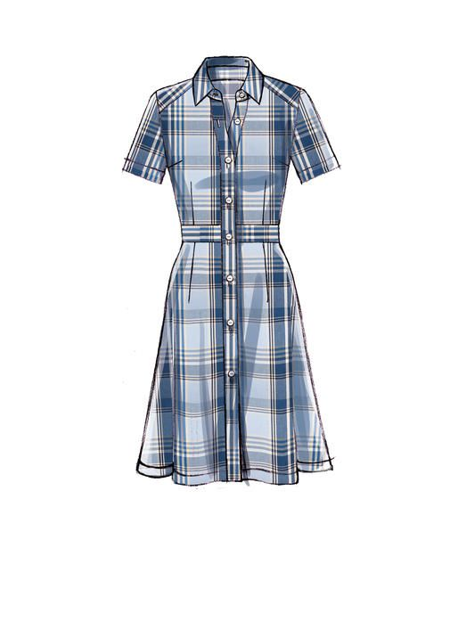 McCall's shirtdress sewing pattern. M7623 Misses' Shirtdresses with Set-In Waistband, and Hem Variations