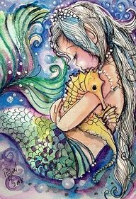 Beautiful little mermaid and seahorse