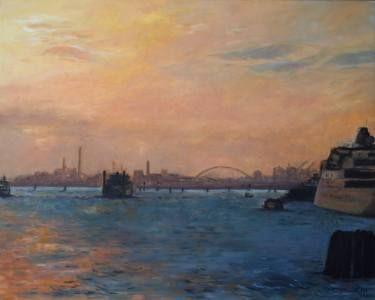 """Saatchi Art Artist Ellen Fasthuber-huemer; Painting, """"Sunset Mestre,Venice"""" #art"""