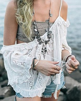 GYpsy coin necklace and boho chic lacy off the shoulder top. For the BEST Bohemian fashion trends for 2015 FOLLOW http://www.pinterest.com/happygolicky/the-best-boho-chic-fashion-bohemian-jewelry-gypsy-/ now.