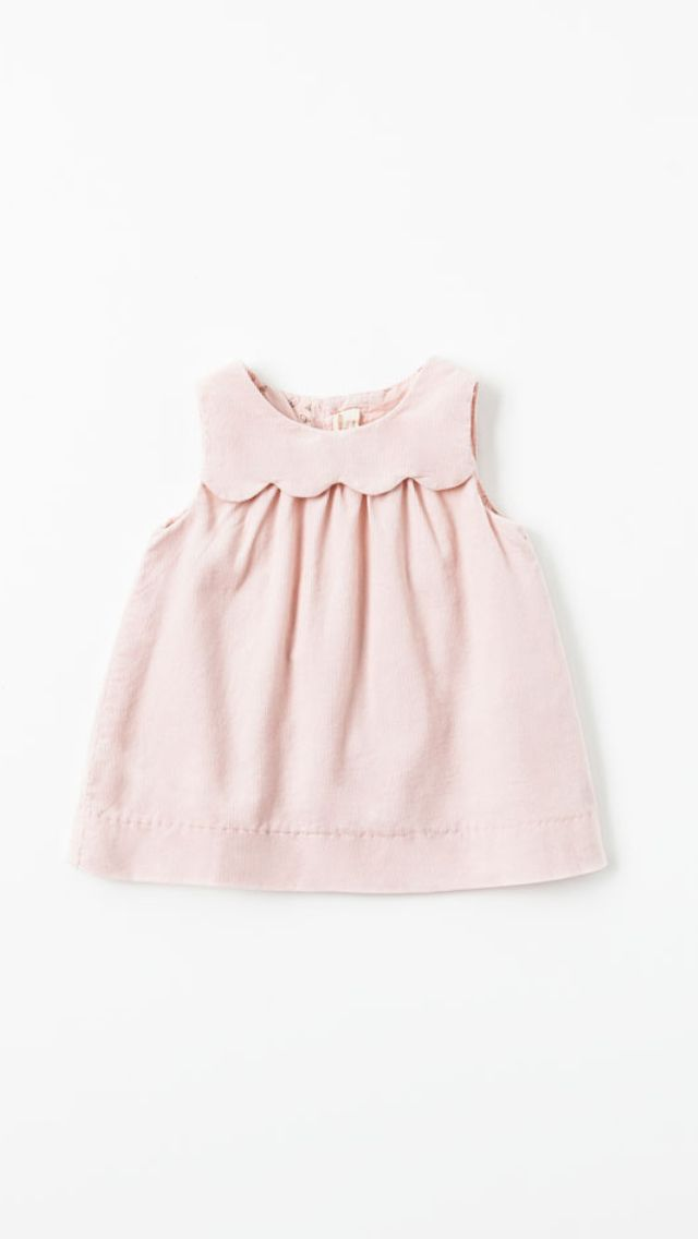 Girls' shift dress with scalloped overlayed-yoke detail.(Would look great as a full-sized ladies/women's dress too.)
