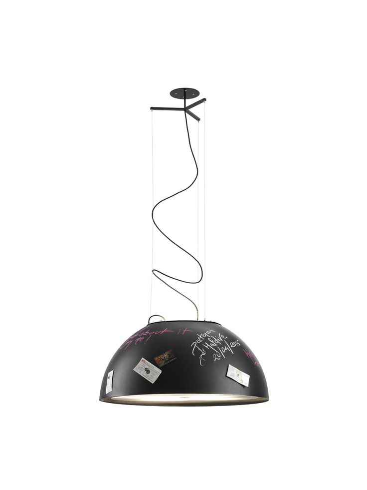 MEMORY, a metal suspension lamp featured by a special black coating enabling the user to write as on a blackboard memos or doodling with a normal chalk.