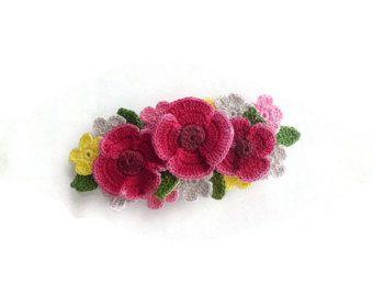Barrette francés amapola rojo oscuro, Handdyed ganchillo Ideas de regalos de medio horquilla, Barrette de damas, flores, casa Chic pelo Clip, #CR008HB