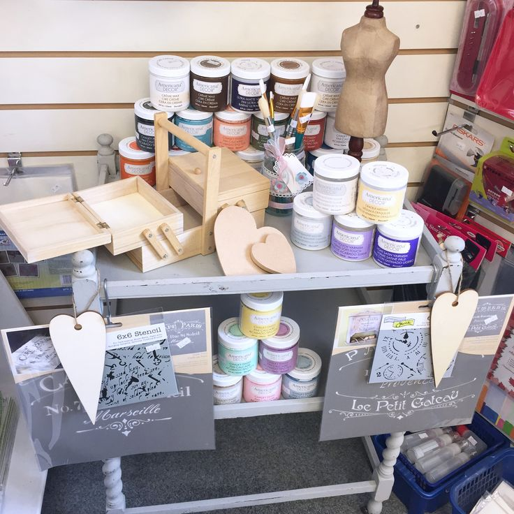 Did you know we have a full range of 24 colours of Americana chalk paint.. the perfect paint to paint up old and new furniture.. No need to sand before hand just enjoy painting straight away with the colour of your choice. 236ml for only £6.99. Example pot size will paint a bureau, chair and magazine rack, all from just 1 tin! Waxes, varnish, crackle, stain blocker and image transfer pots available too!