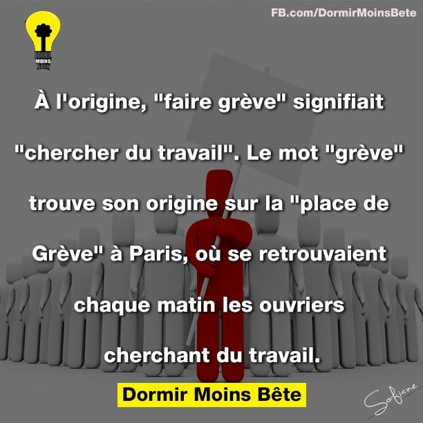 """A l'origine, """"faire gréve"""" signifiait """" chercher du travail"""". Le mot """"gréve"""" trouve son origine sur sur la """" place de Gréve"""" à Paris."""