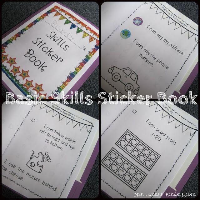 Mrs. Jones's Kindergarten: skills sticker book