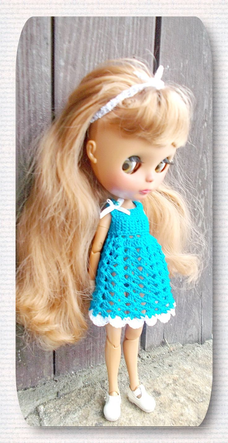 2 x clothes for Blythe doll crocheted dress-flecked hand-knitted sweater free shipping by Shopdollwithowl on Etsy