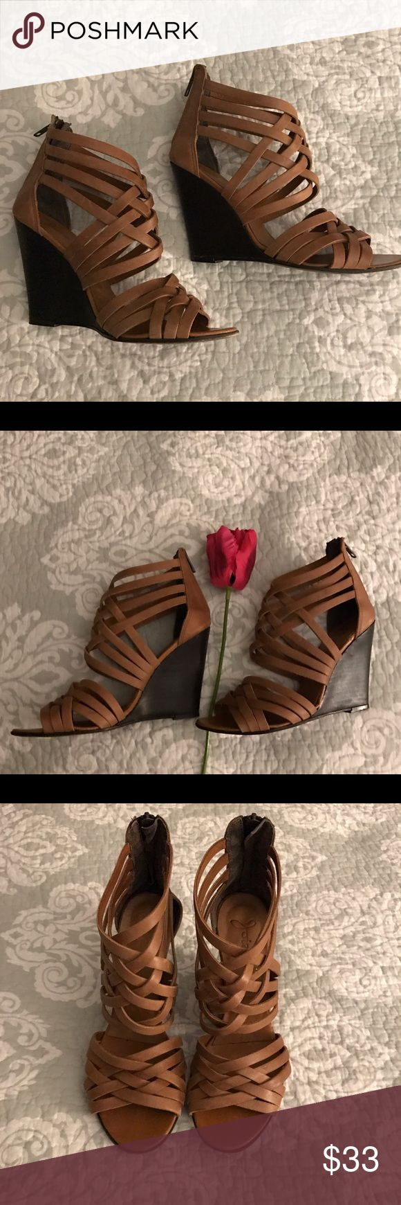Joie Leather Strapy Wedges size-38 made in Italy Joie Leather Strapped Wedges made in Italy 🇮🇹,in the Size-38 or 7 1/2(size 7 can also ware),with a zippered detail in the back of the shoes, these are beautiful Wedges you need the the summer , for going out and for the office also , you can dress these up or down, these shoes have been worn but taken care of in great used condition , you can only tell that they've been worn from the bottom . Joie  Shoes Wedges