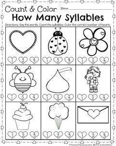 Kindergarten syllables worksheet for February. Say the word. Count the syllables, and color the correct heart. So many fun printables at this link. #kindergarten #worksheets #Valentines