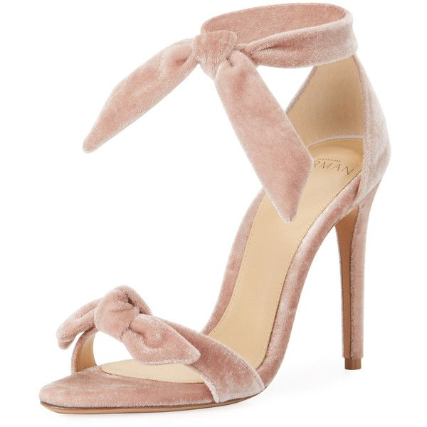 Alexandre Birman Clarita Velvet Ankle-Tie 100mm Sandal (€635) ❤ liked on Polyvore featuring shoes, sandals, light pink, shoes sandals, light pink sandals, open toe shoes, strap sandals, d'orsay shoes and ankle wrap shoes