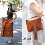 love this idea - Suede Skirt to Stylish Envelope Purse!