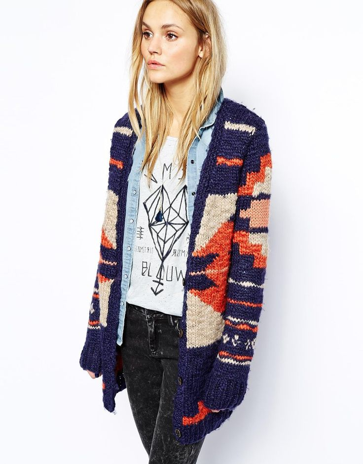 Maison Scotch Oversized Aztec Cardigan