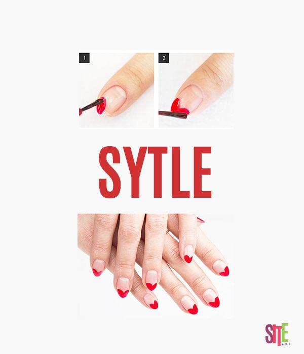 Este diseño de nail art con forma de corazón, perfecto para darle un nuevo diseño a nuestras uñas  #diseño #sitemagazine