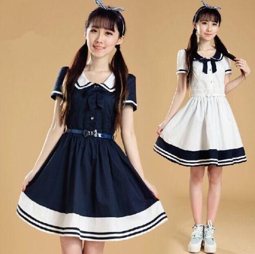 School-Girls-Dresses-Kawaii-Japan-Sailor-Navy-Uniform-Dress-Sweet-With-Belt-New