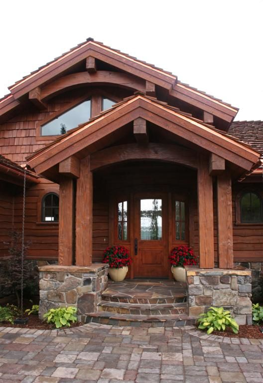Timber frame entry handcrafted timber frame home for Front porch roof types