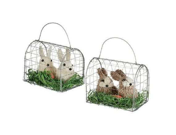 2 Easter Decor Sisal Bunny Rabbit Pair in Wire Cage Grass Carrot – brown / white