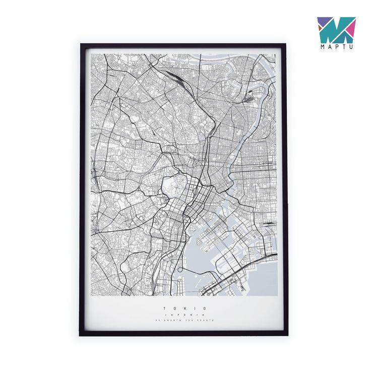 Czarno-biała mapa. Tokio. | maptu.pl