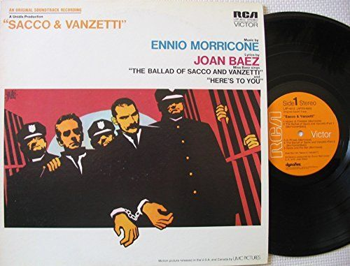 """ENNIO MORRICONE [Composer] ~ 1971 """"Sacco & Vanzetti"""" commercial stock vinyl soundtrack album release (RCA LSP-4612) in NEAR-MINT COND. (no marks, no scratches, no fingerprints).  Includes Joan Baez's songs """"The Ballad of Sacco & Vanzetti"""" Parts 1,2 & 3 and """"Here's To You"""".  ($24.99)  Amazon.com"""