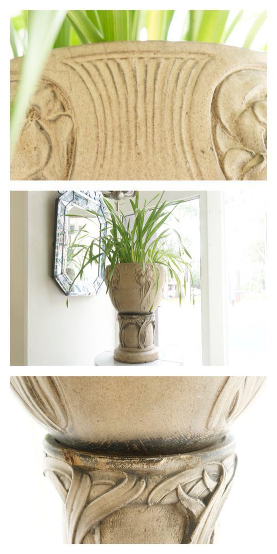 Art Nouveau glazed stoneware pot on stand.