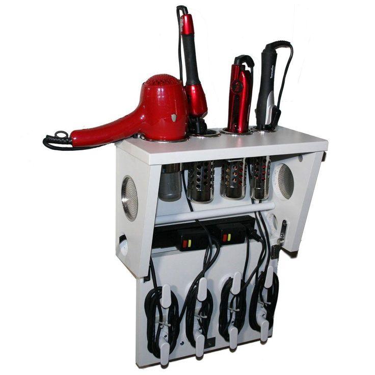 POJJO Wall Mount Hair Appliance Storage System in White Laminate